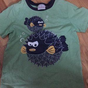 Hanna andersson puffer fish boys shirt 140 6 7 8